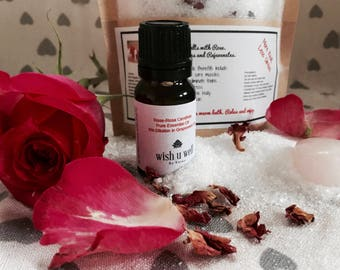 Bath salts, Epsom Salts, Healing Salts, dried Rose, Detox salts, natural salts, aromatherapy, spa gift, gift for her, organic salts,
