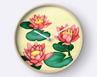 Illustration flower lotus wall clock yellow pink green - water lilies, digital painting, fantasy clock design - decor zen yoga corner