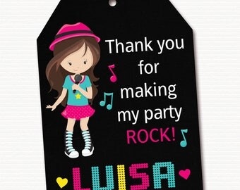 Rock Star Favor Tag, Rock Star Thank You Tag, Rock Star Gift Tag, Rock Star Decoration, Rock Star Party, Personalized, PRINTABLE