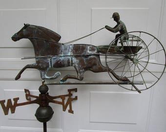 Rare! Antique Weathervane Sulky Driver And Horse Weathervane Vintage Copper Weathervane Horse And Carraige Weathervane