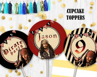 Pirates of the Caribbean Cupcake toppers Cake toppers Pirates toppers Jack Sparrow toppers