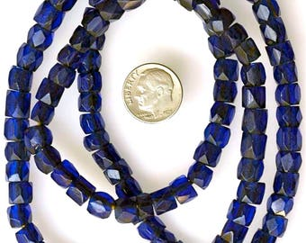 """26 Inch Strand of Old Midnight Blue """"Russian Blue"""" Beads - Vintage African Trade Beads - #C72Y"""