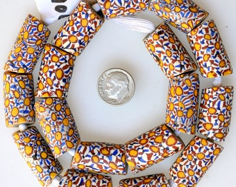 17 Large Matching Venetian Millefiori Beads - Vintage African Trade Beads - MF7906