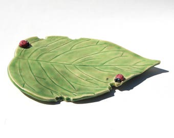 Handmade Leaf Decorative Plate, Spoon rest, or Soap dish featuring 2 ladybugs