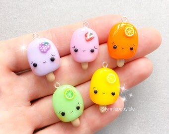 Cute Fruit charm, Fruit necklace, Polymer Clay Charms, kawaii charms, planner charms, stitch markers, kids jewelry, cute girls necklace