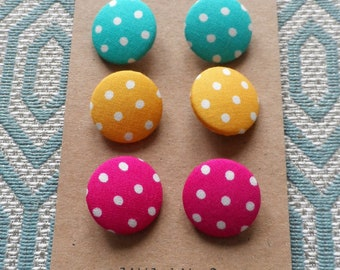 Bright Spotty Fabric Covered Buttons