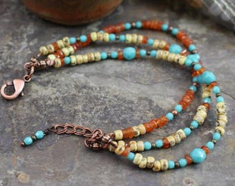 Viking inspired triple strand bracelet,turquoise Czech glass,amber chips,Miyuki beads,copper beads,lobster clasp and twisted rings, B151