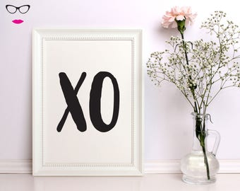XO Kisses Art Text PRINT - wall art, quote print, typography, custom quote design