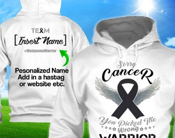 Personalized Melanoma Cancer Awareness Hoodie Black Ribbon Warrior Men Women Kid Youth Custom Support Pullover Gift Winter Apparel Cloth