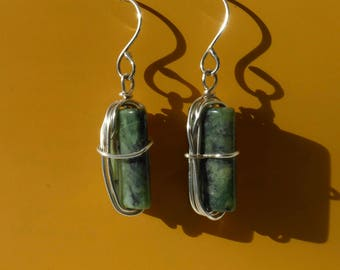 wrapped moss agate earrings, open on one side