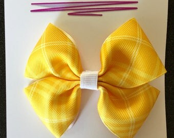 """Yellow Patterned Ribbon Bow Hair Accessory - 3.5"""""""