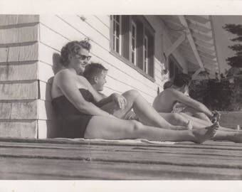 Vintage Photo Teens Hanging On Deck Bathing Suits Summer Fun Abstract Low Angle Photograph Found Black & White Antique Paper Art Design Old