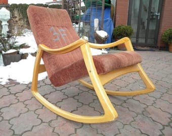 Retro Vintage Thonet Rocking Chair produced in 1960th