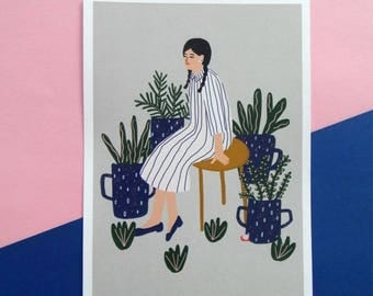 Sitting with the plants printed artwork A5