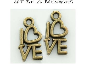 Set of 10 charms love heart bronze (T47)
