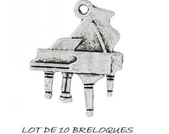 set of 10 charms piano silver music (17)