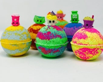 2 or 4 7.0 oz Kids Birthday Party / Easter Egg Favor Inspired Shopkins Bath Bomb Set & Toy Surprise inside!