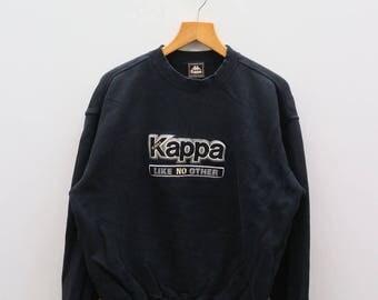 Vintage KAPPA Like No Other Big Logo Sportswear Black Sweater Sweatshirts Size L