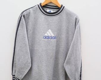 Vintage ADIDAS Triline Small Logo Sportswear Gray Sweatshirt Sweater Size M