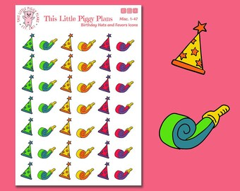 Birthday Hats and Favors Planner Stickers - Party Hat Stickers - Party Favor Stickers - Birthday Party Stickers - Celebrate - [Misc 1-47]