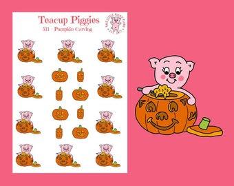 Teacup Piggies - Pumpkin Carving Oinkers - Mini Planner Stickers - Jack-o-Lantern Stickers - Pumpkin Stickers - Halloween - Holiday - [511]