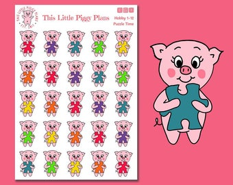 Puzzle Time Oinkers - Puzzle Stickers - Planner Stickers - Hobby Stickers - Hobbies - Puzzles - Games - Family Time - Pigs - [Hobby 1-12]