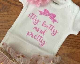 Itty Bitty and Pretty Bodysuit, Pink Glitter, Baby Girl, Girl Bodysuit, New Baby Bodysuit, Baby Gift, Bow Bodysuit, Itty Bitty Bodysuit,