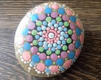 Mandala Stone, hand painted pebble,  painted rock, beach pebble, paperweight, Spiritual, Cornish gift , home decor, meditation aid.