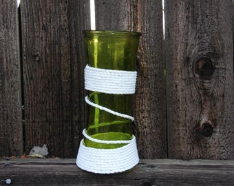 green vase-sea green glass vase-rope wrapped vase-unique vase-bohemian vase-eclectic vase-patio vase