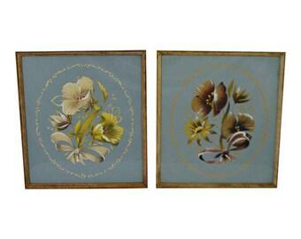 Pair of Vintage Wood Framed Floral Prints