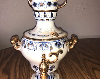 4pc Ghzel Porcelain Russian MID-CENTURY Ceramic Decorative Samovar