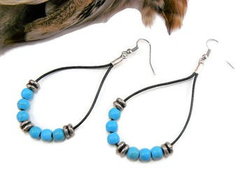 Teardrop Earrings, Turquoise Earrings, Beaded Earrings, Boho Earrings, Leather Earrings, Boho Chic, Bohemian Jewelry, Dangle Earrings