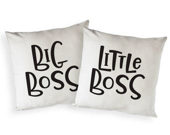 Cotton Canvas Big Boss and Little Boss Home Decor Pillow Cover, Pillowcase, Cushion Cover and Decorative Throw Pillow, Gift, Housewarming