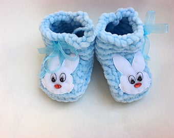 Blue Baby Booties Baby Boy Booties Knitted Crib Shoes Newborn Baby Gift Crochet Blue Booties Handmade Baby Shoes Baby Shower Idea Infant