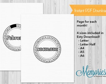 Printable Bullet Journal Planner Template Sheets, Circle, BuJo, Monthly Planner, Letter, Letter Half, A4, A5, A6, Insert,  Instant Download