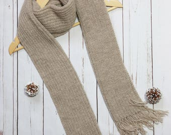 Wool scarf men, hand knitted scarf, knit scarf woman, handmade knit scarf, winter scarf, beige wool scarf, tassel scarf, unisex wool scarf