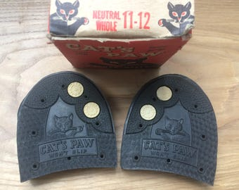 Cat's Paw Rubber Heels Vintage 50's White Plug Twin Grip 11-12 Boxed