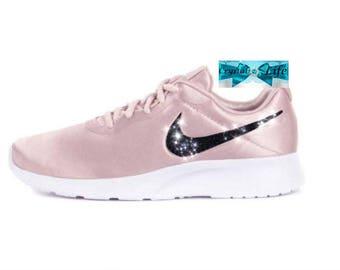 Custom Crystal Bedazzled Women Pink Nike Tanjun  Premium Satin