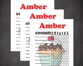 Cupcake chore chart, personalized chore chart, custom chore chart, kids responsibility chart, Summer chore chart, editable chart, digital