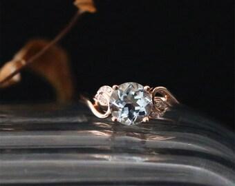 Leaf Engagement Ring 7mm Round Cut Natural Aquamarine Ring March's Birthstone Ring Bridal Ring 14K Rose Gold Aquamarine Engagement Ring