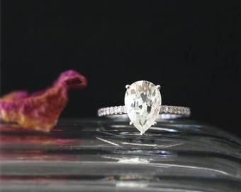 14K White Gold Moissanite Engagement Ring 10*7mm Pear Cut 2.0ct Forever One Moissanite Ring Half Eternity Diamonds Ring C&C Bridal Ring