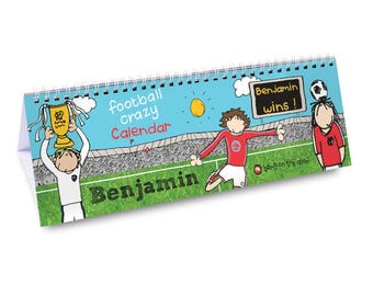 Personalised Bang On The Door Football Desk Calendar Gifts Ideas For Boys Animals Girls Childrens Kids Girls