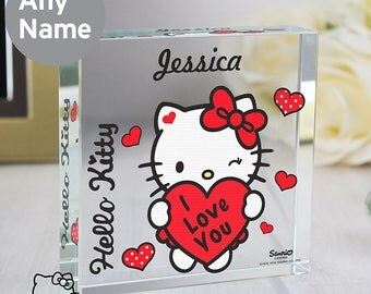 Personalised Hello Kitty I Love You Large Crystal Token Gifts Ideas For Valentines Day Keepsakes Anniversary Girlfriend Wife Husband
