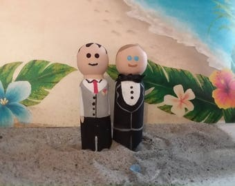 Groom peg Couple Cake Topper
