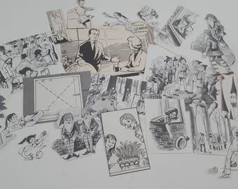 20pc Die Cut Hand Cut Women, Men, Kids Black And White 70s Annual Ephemera For Scrapbooking, Collage, Art Journaling, Crafting, Decoupage