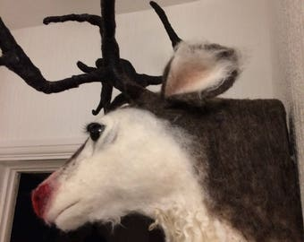 Needle felted mounted Rudolph head Christmas decoration gift