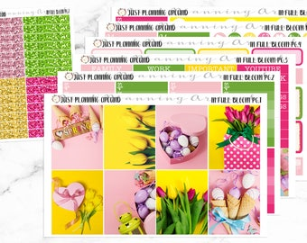 Spring Planner Kit, Easter Weekly Kit, Spring weekly kit, Floral Weekly kit, for use with Erin Condren
