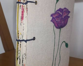 Romantic Journal with blank pages, flowers, Japanese binding technique, handmade notebook, organizing your daily routine, place your targets