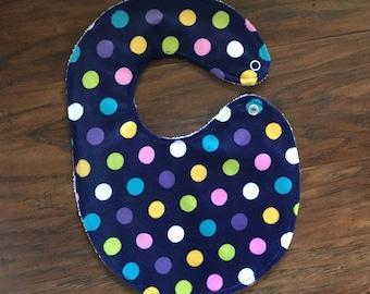 Minky Drool Bib, Polka Dots, Dots Bib, Baby Shower Gift, Girl, Polka Dots Bib, Minky Bib, Baby Branch Boutique