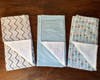 3 Pack Burp Cloths, Baby Shower Gift, Boy Burp Cloths, Burp Cloth Set, Baby Gift, Boy, Cotton Flannel Burp Cloths, Baby Branch Boutique